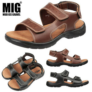 Mens MIG Leather Hiking Sport Sandals Size 6 to 12 UK TREKKING WALKING CASUAL