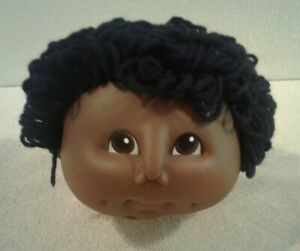 "1984 Thomas Large 5"" doll head African American with black yarn hair - NEW"