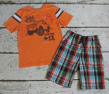 SONOMA / JUMPING BEANS Boys Orange Dune Buggy Tee and Plaid Shorts 7 7x VGUC