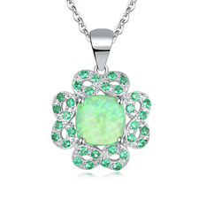 "Green Fire Opal Emerald Silver For Women Jewelry Gemstone Pendant 1 1/8"" OD6010"