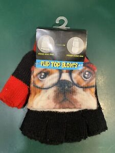 FLIP TOP GLOVES - DOGS WEARING GLASSES FLIP TOP MITTENS-ONE SIZE- NEW WITH TAG