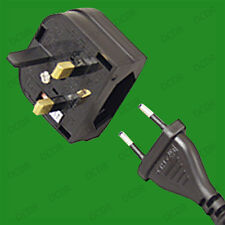 Push In 2 Pin Euro to UK 3 Pin Mains Fused Plug Converter Travel Adaptor