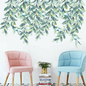 Nursery Green Leaves Hanging Tree Foliage Home Removable Wall Stickers Decor AU