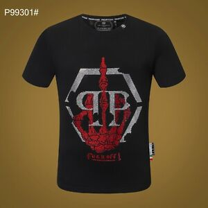 PHILIPP PLEIN Black Letters Beading Men Casual T-shirt #P99301 M-3XL