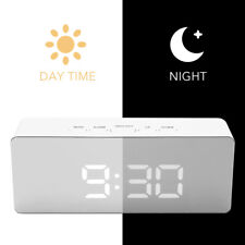 LED Mirror Alarm Clock Night Lights Thermometer Digital Table Clock Lamp Office
