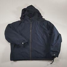 Polo Ralph Lauren Navy Fleece Lined Full Zip Jacket Coat XXL hooded VTG 90s pony