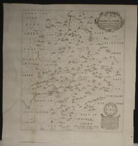 WARWICKSHIRE ENGLAND 1656 ROBERT VAUGHAN UNUSUAL ANTIQUE COPPER ENGRAVED MAP