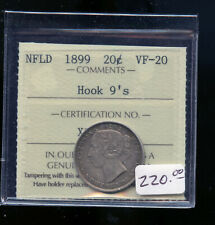 1899 Hook 9's Newfoundland 20 Cents ICCS Certified VF20 DCB283