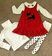 GYMBOREE 3T Girls 4PC SET Christmas Holiday Dog Cord Jumper Dress Shirts Tights