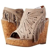 Not Rated Fringe Delight Women Wedge Sandal TAUPE NEW