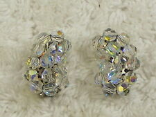 Cluster Clip-on Earrings (D24) Crystal Curved Oblong Bead
