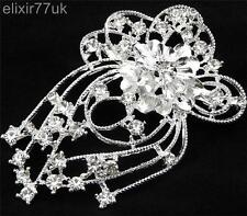 "3.2"" LARGE SILVER FLOWER BROOCH DIAMANTE RHINESTONE CRYSTAL BROACH WEDDING PARTY"