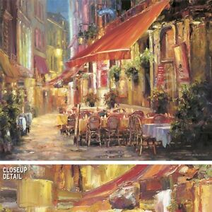 """36W""""x27H"""" CAFE IN LIGHT by HAIXIA LIU STREET SCENE OF RESTAURANT AT NIGHT CANVAS"""