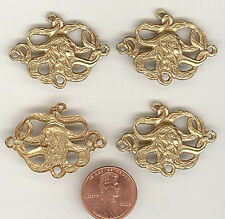 4 Pale Brass Ox LONG HAIRED MEDUSA Connector 34x24mm #ST63