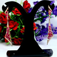 NATURAL RED RUBY & WHITE CZ LONG EARRINGS 925 STERLING SILVER