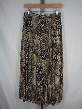 Chicos Brown Black Crinkle Broomstick Maxi Skirt Size 1 (8) Medium