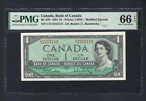 Canada One Dollar 1954 BC-37b Uncirculated Graded 66
