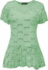 Womens Top Lace Flared Sleeve Tunic Size Frill Short Peplum Plus Pattern Floral MINT UK 22/24