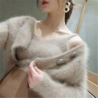 Women 2pcs Suit Sweater Mohair Mink Fur Loose Top Jumpers Vest+cardigans Coat