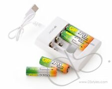 GP NiMH 2700 mAh AA Rechargeable Batteries with Free USB Charger (4 pcs)