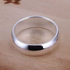 925 Silver Plt Mens Ladies Simple Plain Band Ring Wedding Engagement Thumb a