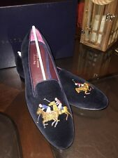 Ralph Lauren Purple Label Collis Polo Players Navy Blue Sz 10.5 Made N Italy New