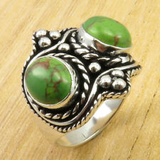2 Gem, Green Copper Turquoise ART Ring Size 8.75 | Silver Plated Jewelry NEW