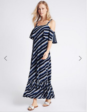 BNWT M&S Collection Navy Blue Stripe Bardot Off Shoulder Maxi Dress Size 14 Reg