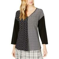 Max Mara Womens Black V-Neck Printed Top Blouse Shirt S BHFO 2934