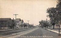 Real Photo Postcard Crawford Street West from West St. Peotone, Illinois~109459