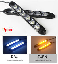 2x 6LED DRL Daytime Running Lamp Strip Light Sequential Flowing Turn Signal Tube
