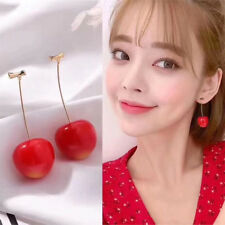 Women Girls Resin Cute Round Dangle Red Cherry Fruit Earrings Jewelry Gift