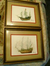 Lot of 2 Vintage Nautical Ship Boat Framed Art Print Lithograph Signed Barone