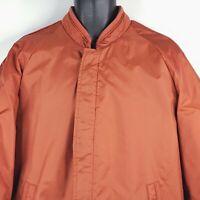 Vintage 70s Sears Outerwear Rust Orange Nylon Faux Fur Lined Parka Winter Coat L