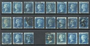 GB QV 2d Blue Collection of 23 Good/Fine Used Stamps High Cat Value
