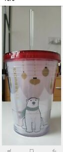 Starbucks Coffee Red Clear Cold Cup Travel Tumbler Christmas Polar Bear