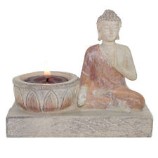 """Feng Shui 5"""" Buddha Monk Chanting with lotus Candle Incense Holder Figurine"""