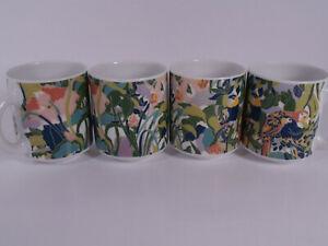 → Arzberg 4x Kaffeetasse Tassen Vögel Dschungel naive Malerei Zustand wie neu