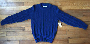 NWT VTG 70s Cable Knit Pullover Sweater By Sears Boys, Midnight Blue, Sz 10years