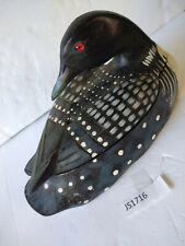 Vintage Black Wood Exotic Duck Trinket Box, Rustic Hand Carved & Painted Loon
