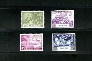 LOT 91624 MINT NH 75-78 NIGERIA  1949 UPU ISSUE