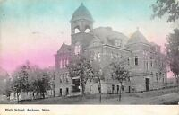 Jackson Minnesota~High School~Blue Sky~1911 Postcard