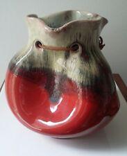 Rare Signed Spanish Arroyo Art Pottery Glazed Sack Vase Red