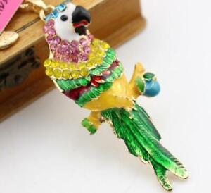 Hot Enamel Jewelry Betsey Johnson pendant rhinestone Cute parrot golden necklace
