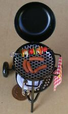 1:12 Scale Metal Barbecue Kettle & Food Tumdee Dolls House Garden Accessory BBQ