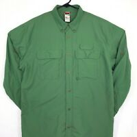 The North Face Mens Vented Button Down Shirt Large Fishing Long Sleeve Green