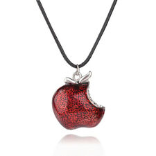 Red Poison Apple Pendant for Women Gift Once Upon A Time Necklace Crystal Bite