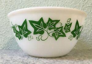 "Hazel Atlas Milk Glass Stylized Green Ivy Largest Mixing Nesting Bowl Vintage 8"""