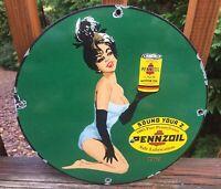 """Vintage Pennzoil Motor Oil Pin Up Girl Heavy Porcelain Sign 12"""""""