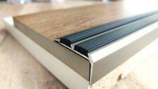 100cm - 35x19mm Treppenprofil Trittschutz + Gummi Einlage Titan eloxiert